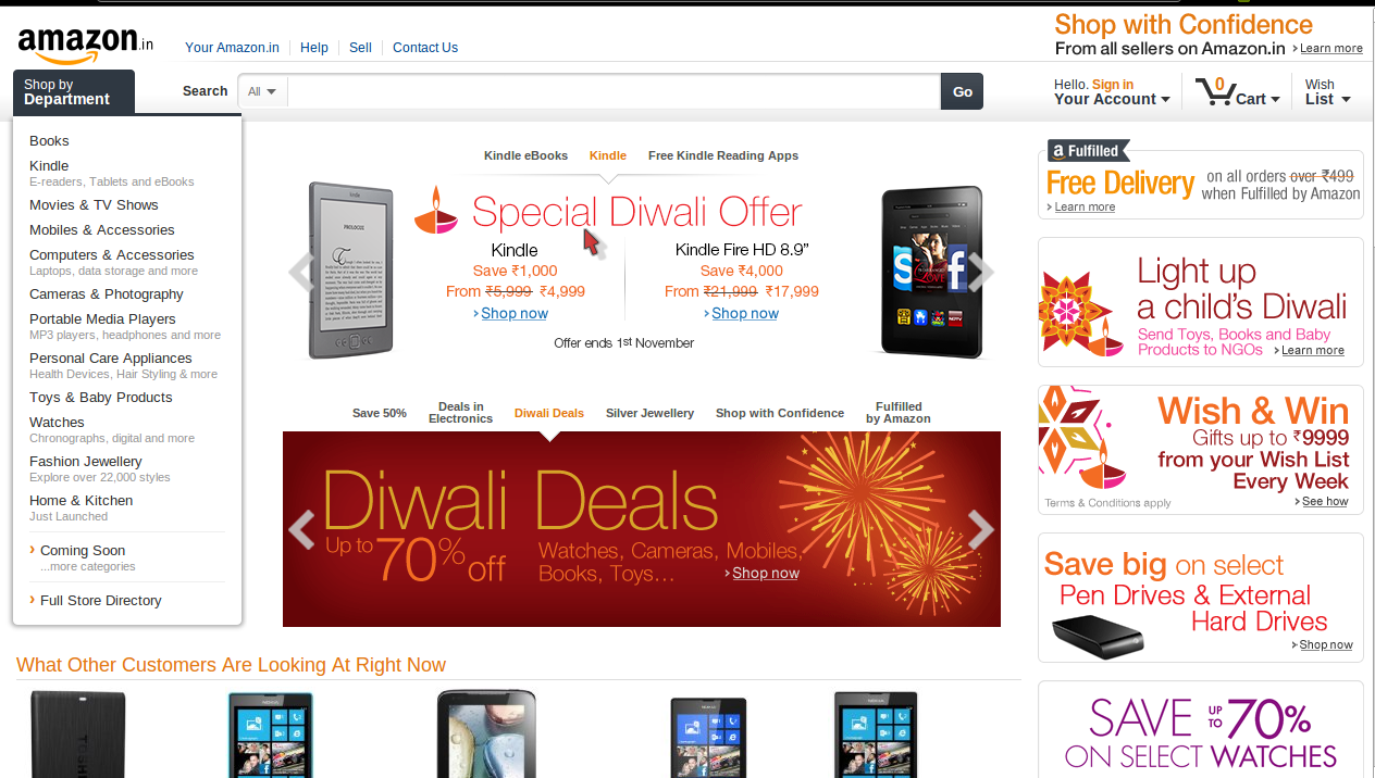 Amazon India 10% Cashback on all American Express card Purchases