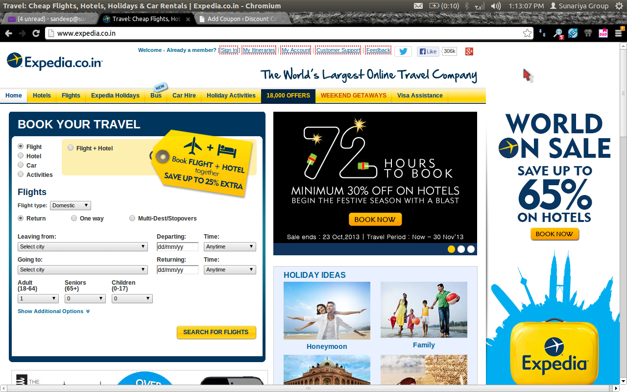 Discount coupons on hotel booking