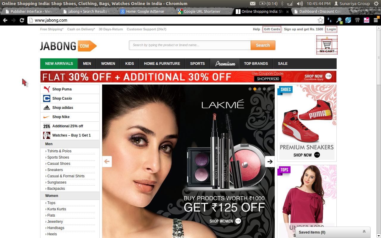 Discount coupons on jabong