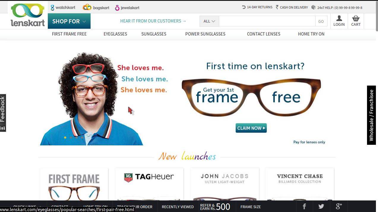 Lenskart 30% Off Discount on Eyeglasses Promo August 2014
