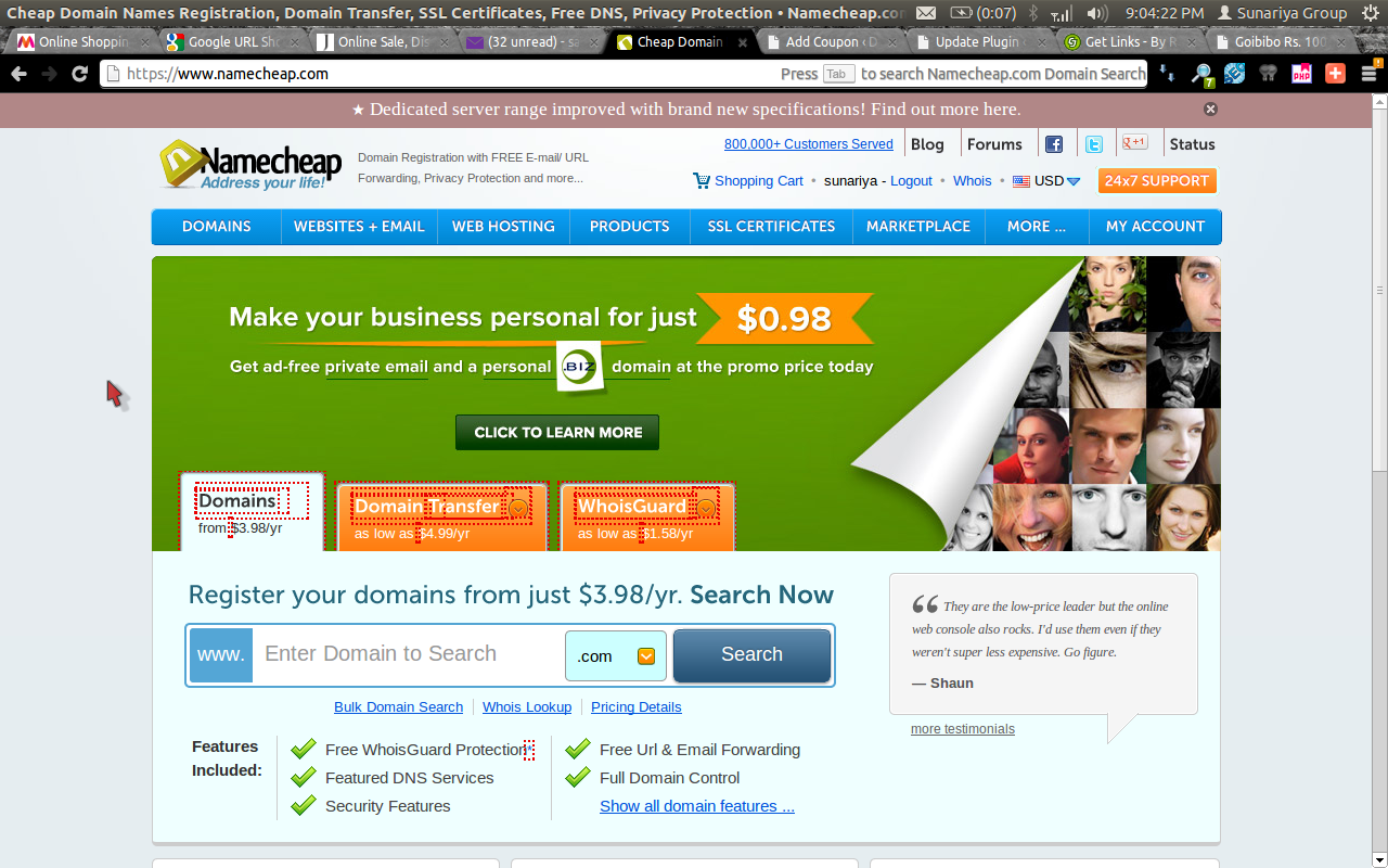 Namecheap WhoisGuard at $2.98 Per Year Coupon Code August 2014