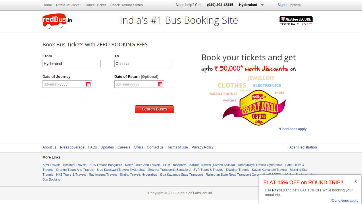 RedBus Rs. 50 Off Round Trip Discount Coupon February 2015