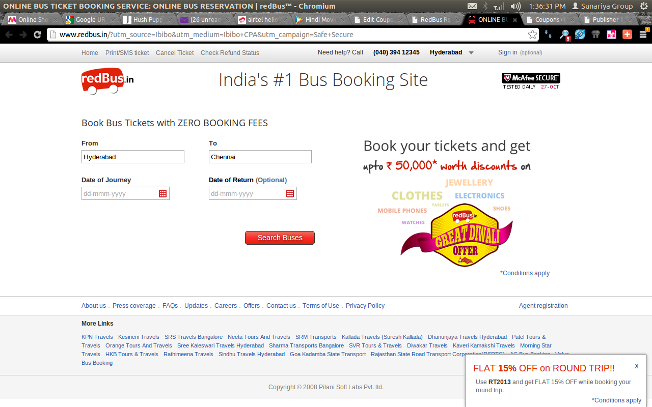 Redbus Rs. 50 Off on Bus Ticket Booking March 2014