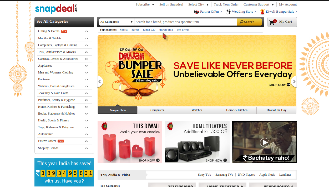 Snapdeal 6% Off On Electronic Discount Coupon February 2015